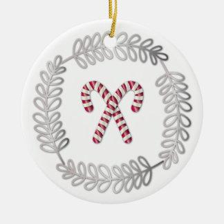 Pequeño ornamento redondo del bastón de caramelo adorno redondo de cerámica