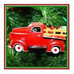 Pequeño ornamento rojo del camión de recogida del  escultura fotográfica