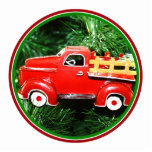 Pequeño ornamento rojo del camión de recogida del  escultura fotografica