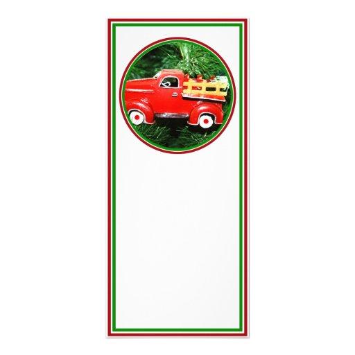 Pequeño ornamento rojo del camión de recogida del  tarjetas publicitarias a todo color