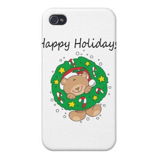 Pequeño oso de Brown buenas fiestas iPhone 4/4S Carcasas