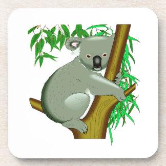 Pequeño oso de koala en un árbol de goma posavasos de bebidas