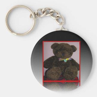 Pequeño oso de peluche de Brown Llavero Redondo Tipo Pin
