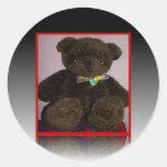 Pequeño oso de peluche de Brown Pegatina Redonda