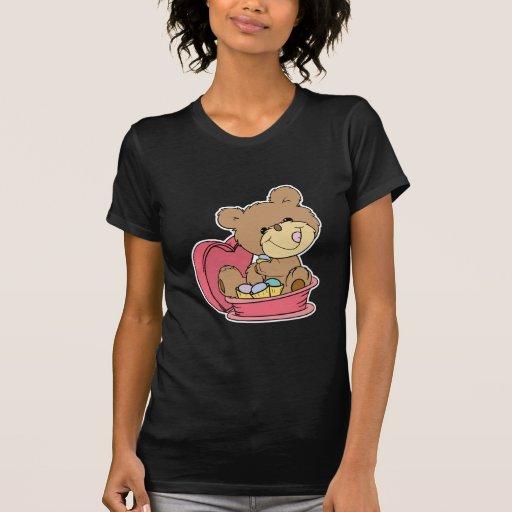 pequeño oso de peluche dulce lindo que come el remera