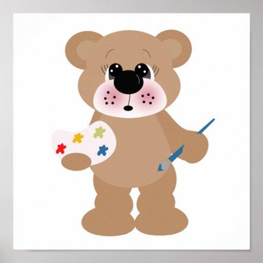 pequeño oso lindo del artista con la paleta de la  posters