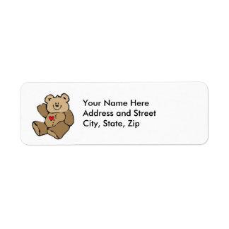 Pequeño oso marrón etiqueta de remitente