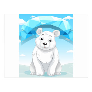 Pequeño oso polar que se sienta en el hielo tarjeta postal