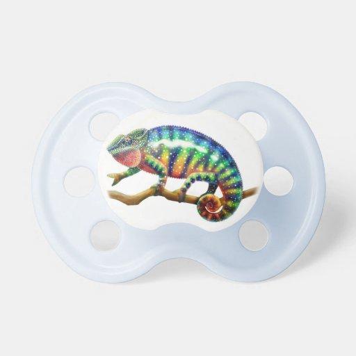 Pequeño pacificador colorido del bebé del camaleón chupete de bebe