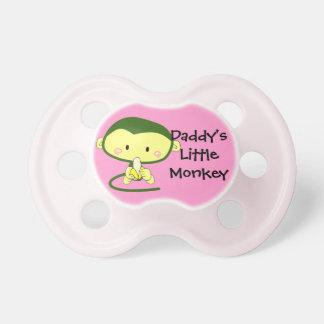 Pequeño pacificador del mono del papá rosado chupetes de bebé