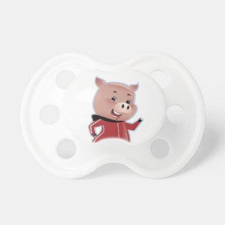 Pequeño pacificador lindo del cerdo chupete de bebe