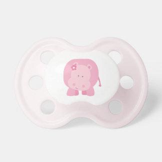 Pequeño pacificador rosado del bebé del hipopótamo chupetes para bebés