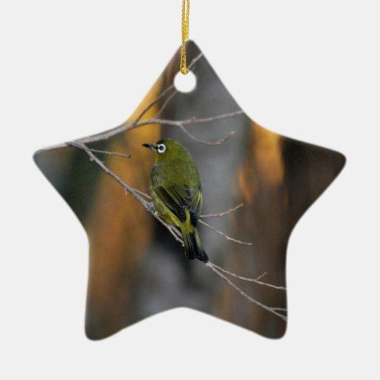 Pequeño pájaro adorno navideño de cerámica en forma de estrella