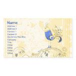 Pequeño pájaro azul bonito con las flores plantilla de tarjeta de negocio