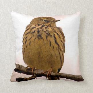 Pequeño pájaro en la foto de la rama de árbol cojin