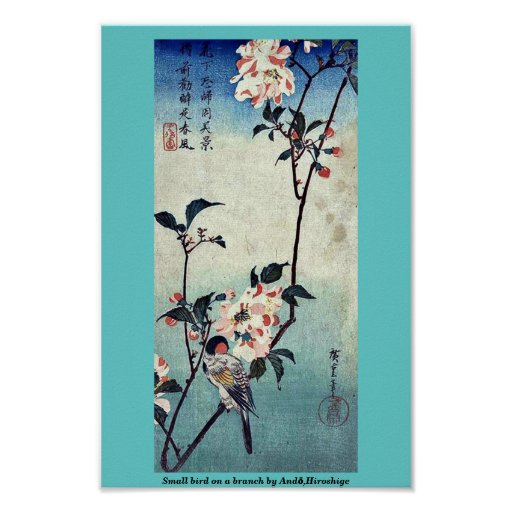 Pequeño pájaro en una rama por Andō, Hiroshige Póster
