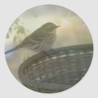 pequeño pájaro etiquetas redondas