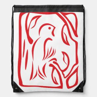 Pequeño pájaro rojo mochila