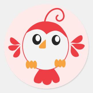 Pequeño pájaro rojo pegatina redonda