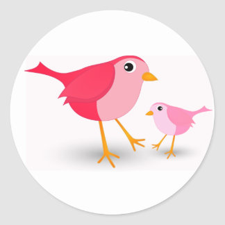 Pequeño pájaro rosado de la madre y su pegatina