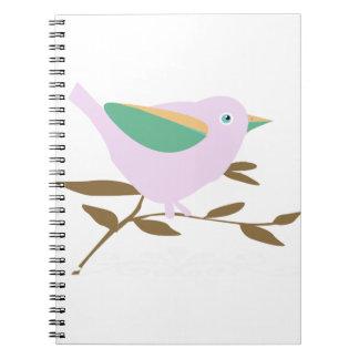 Pequeño pájaro rosado libreta