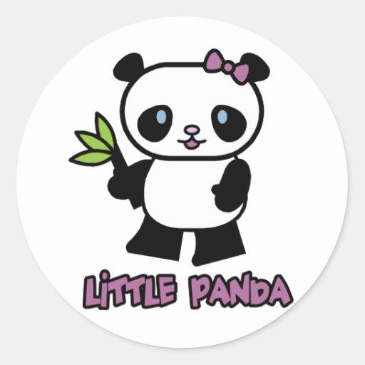Pequeño panda etiqueta redonda