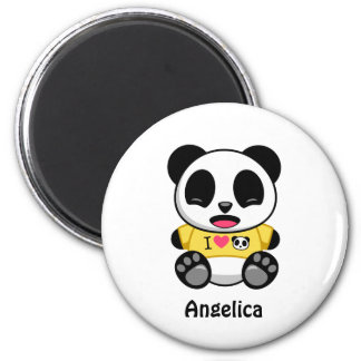 Pequeño panda lindo en blanco imán redondo 5 cm