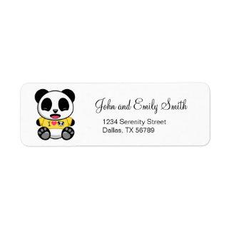 Pequeño panda lindo etiqueta de remitente