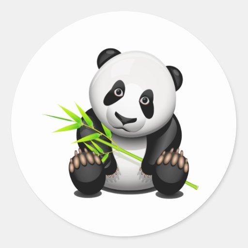 Pequeño panda pegatina redonda