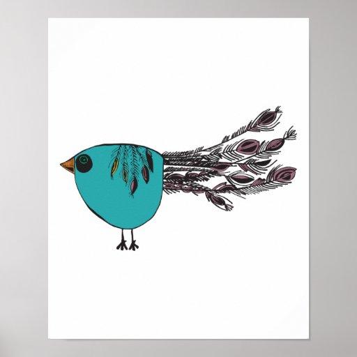 pequeño pavo real divertido lindo poster
