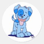 Pequeño pegatina azul del perrito