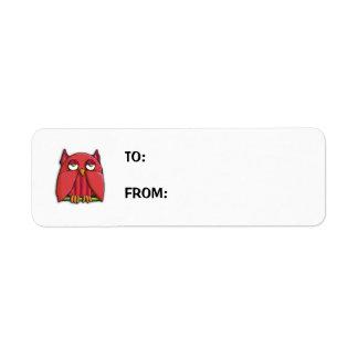 Pequeño pegatina de la etiqueta del regalo del búh etiqueta de remite