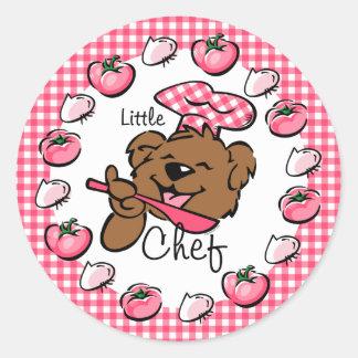 Pequeño pegatina del cocinero del oso