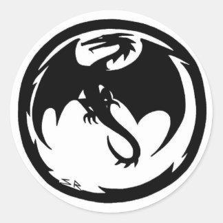 Pequeño pegatina redondo del dragón negro