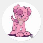 Pequeño pegatina rosado de las mujeres del perrito
