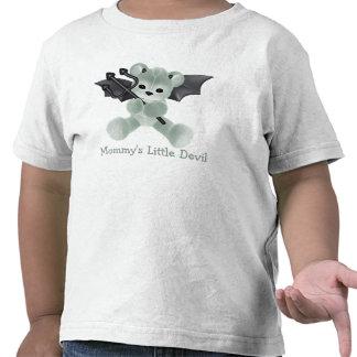 Pequeño peluche del verde del diablo de la mamá li camisetas