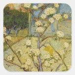 Pequeño peral de Van Gogh en el flor (F405) Colcomanias Cuadradas