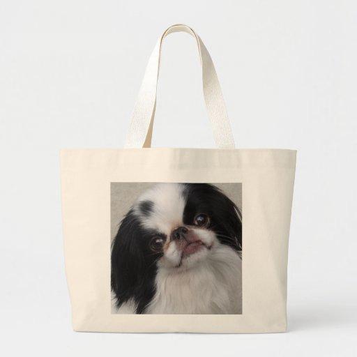 Pequeño perrito blanco y negro bolsa de tela grande