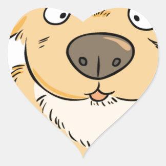Pequeño perrito que quiere un bocado pegatina en forma de corazón
