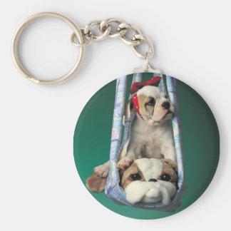 Pequeño perrito querido del dogo llavero redondo tipo pin