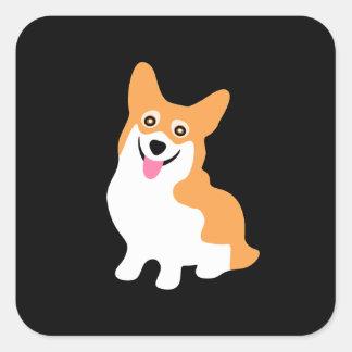 Pequeño perrito sonriente lindo del Corgi Pegatina Cuadrada