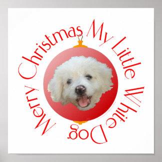 Pequeño perro blanco de las Felices Navidad Posters