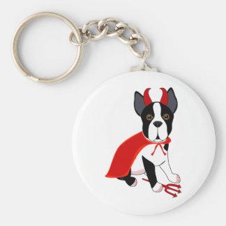 Pequeño perro de Halloween del diablo Llavero Redondo Tipo Pin