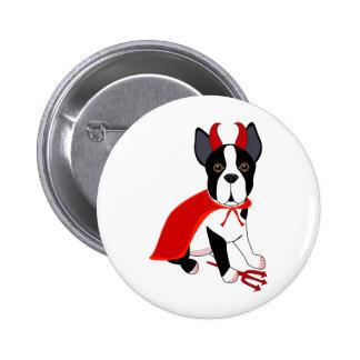 Pequeño perro de Halloween del diablo Pin Redondo De 2 Pulgadas