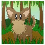Pequeño perro de perrito lindo del bosque de la servilletas de papel