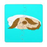 Pequeño perro de perrito soñoliento lindo posavasos de puzzle