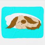 Pequeño perro de perrito soñoliento lindo mantita para bebé