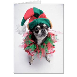 Pequeño perro del duende del ayudante de Santa Tarjeta De Felicitación