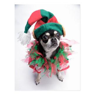 Pequeño perro del duende del ayudante de Santa Tarjetas Postales