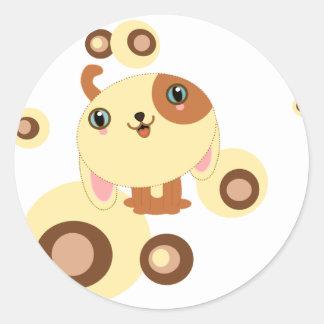 pequeño perro lindo pegatinas redondas